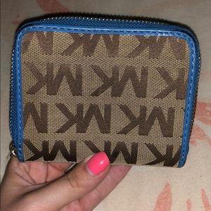 Michael Kors Bags - Michael Kors Brown & Blue Logo Wallet!